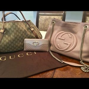 Authentic GUCCI Leather SoHo in Rose w/Gold Chain